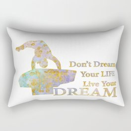 Live Your Dream Gymnastics Design in Watercolor and Gold Rectangular Pillow