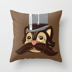 Cat and Moustache Throw Pillow