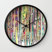 fringe Wall Clocks featuring Fringe Benefits by Lynsey Ledray