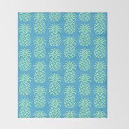 Mid Century Modern Pineapple Pattern Blue and Green Throw Blanket