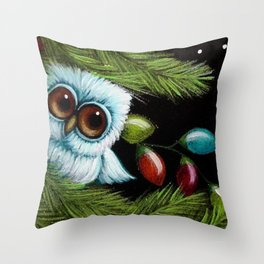 TINY BABY OWL - 1ST CHRISTMAS TREE LIGHTS Throw Pillow