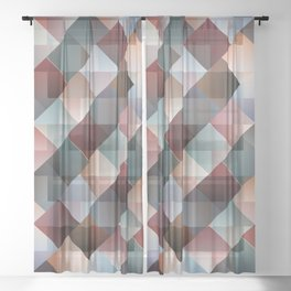 Color Mixing with Squares and Triangles Sheer Curtain