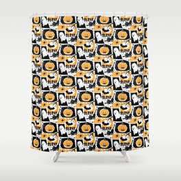Beware of the Cat -Pattern Shower Curtain