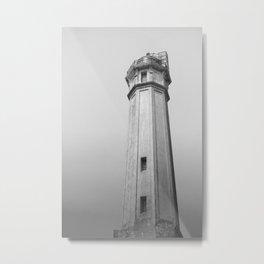 Alcatraz Lighthouse (Black and White Version) Metal Print