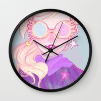luna lovegood Wall Clocks featuring Luna Lovegood by Thais Magnta Canha