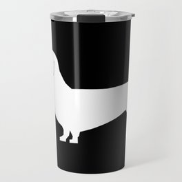 Dachshund silhouette minimal black and white dog lover home decor gifts accessories silhouette Travel Mug