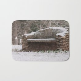 Snow Covered Bench Photography Bath Mat