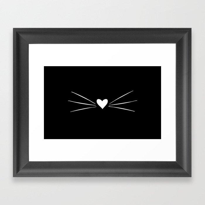 Cat Heart Nose & Whiskers White on Black Gerahmter Kunstdruck