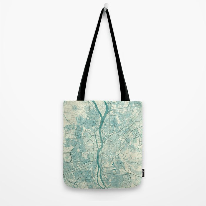 Cairo Map Blue Vintage Tote Bag