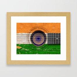 Old Vintage Acoustic Guitar with Indian Flag Framed Art Print