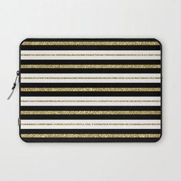 Gold Black White Stripe Pattern Laptop Sleeve