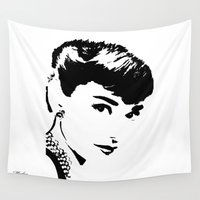 hepburn Wall Tapestries featuring Audrey Hepburn by Saundra Myles