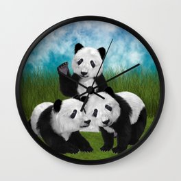 Panda Bear Cubs Love Wall Clock