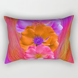 Faux Fur and Flowers Rectangular Pillow