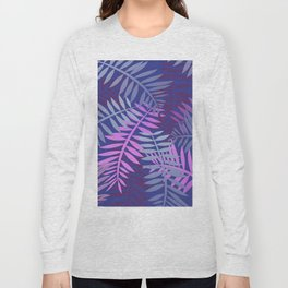 Violet pink palm leaves pattern Design #leaves Long Sleeve T-shirt
