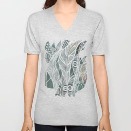 Feathery Design in Emerald Green Unisex V-Neck