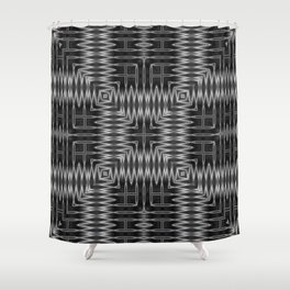 SMUT - charcoal grey and black abstract repeating square pattern Shower Curtain