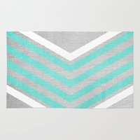 teal Area & Throw Rugs featuring Teal and White Chevron on Silver Grey Wood by Tangerine-Tane