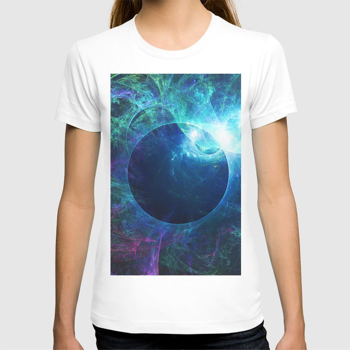 Abstract colorful shiny print graphic with planet space T-shirt