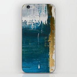 Rain [3]: a minimal, abstract mixed-media piece in blues, white, and gold by Alyssa Hamilton Art iPhone Skin