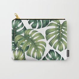Monstera botanical leaves illustration pattern on white Carry-All Pouch