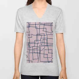 Decorative pink and blue abstract squares Unisex V-Neck