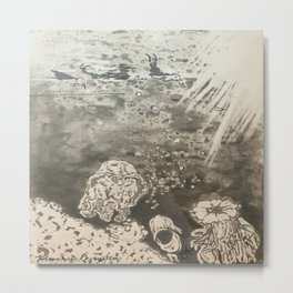 MoonSea EcoSystem Black and White Metal Print