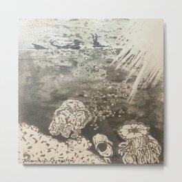 MoonSea EcoSystem Black and White Metal Print