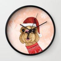 alpaca Wall Clocks featuring Alpaca Christmas by Barruf