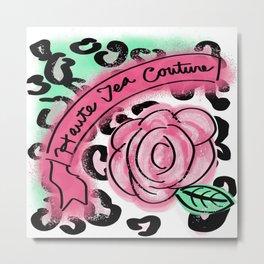 Haute Tea Couture Rose and Cheetah Print Metal Print