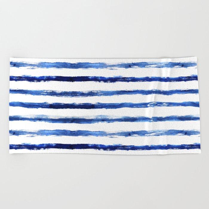 Blue grungy stripes Beach Towel