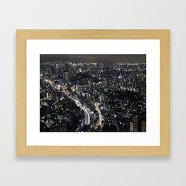 Tokyo by Night, Japan. Framed Art Print