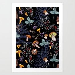 dark wild forest mushrooms Art Print