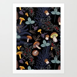 dark wild forest mushrooms Art Print