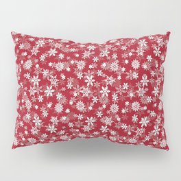 Christmas Cranberry Red Jelly Snow Flakes Pillow Sham