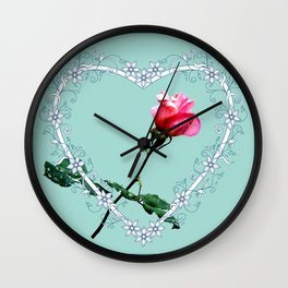Heart with pink rose Wall Clock
