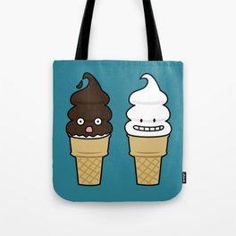 Soft Serve Ice Cream Cone wafer waffle chocolate vanilla Tote Bag