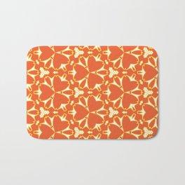 Bright Orange Geometrical Pattern Bath Mat