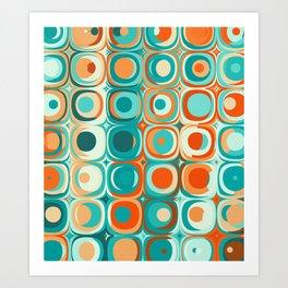Orange and Turquoise Dots Art Print