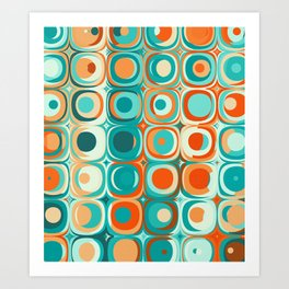 Orange and Turquoise Dots Kunstdrucke