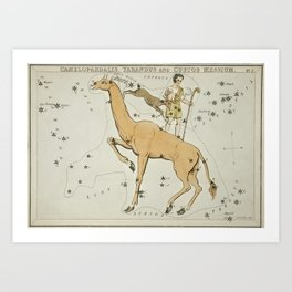 Sidney Hall's (1831) astronomical chart illustration of the Camelopardalis, Tarandus and the Custos Art Print