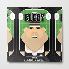 Rugby Black - Ruck Scrumpacker - Bob version Metal Print
