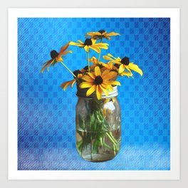 Vintage Jar of Daisies Art Print