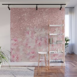Girly pink boho floral rose gold glitter Wall Mural