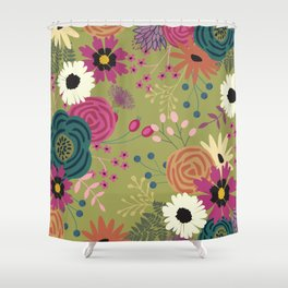 Verde Floral Shower Curtain