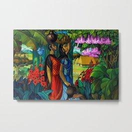 'Tehuanas con floripondios y gladiolas' floral tropical painting by Alfonso Pena Metal Print