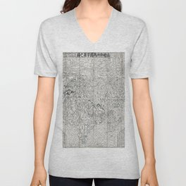 First Japanese Buddhist World Map showing Europe, America and Africa - print from 1710 Unisex V-Neck