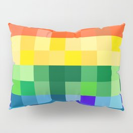 Pixelated Rainbow Pillow Sham