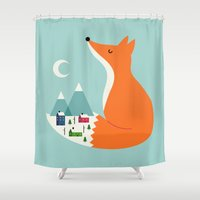 winter Shower Curtains featuring Winter Dreams by Andy Westface