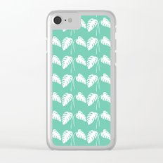 White Monstera Leaf Watercolor on Teal Clear iPhone Case